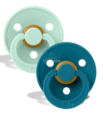 Šidítko kulaté Kaučuk 2 ks Bibs Colour Nordic Mint / Forest Lake