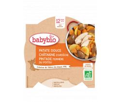 Sladké brambory s kaštanovým pyré a farmářskou perličkou 230g Babybio