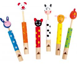 Dětská dřevěná píšťalka 6 ks Small Foot Zvířátka