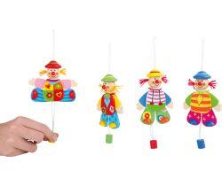 Dřevěná dekorace 1 ks Small Foot Hýbající se klaun na zavěšení