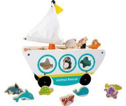 Dřevěná loď s vkládáním mořských zvířátek Small Foot