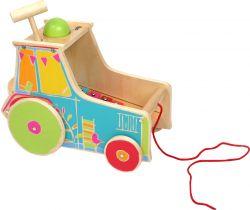 Dřevěná motorická hra Small Foot Traktor s xylofonem