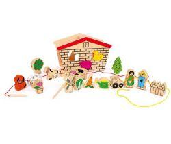Dřevěná motorická hračka Small Foot Provlékací hra Farma
