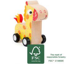 Dřevěná žirafa na kolečkách Small Foot Žlutá
