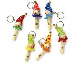Dřevěné přívěšky na klíče sada 6 ks Small Foot Píšťalka klauni