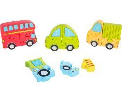 Dřevěné puzzle 4v1 Small Foot Dopravní prostředky