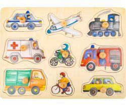Dřevěné puzzle Small Foot Dopravní prostředky