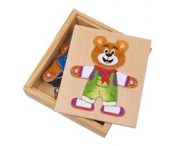 Dřevěné puzzle Small Foot Oblékání medvídků