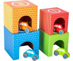 Dřevěné skládací kostky s auty Small Foot
