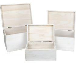 Dřevěné uložné truhly s víkem 3 ks Small Foot Bílé