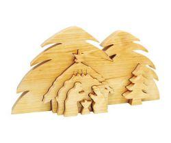 Dřevěné vánoční ozdoby 3D Small Foot Jesličky Betlém