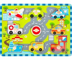 Dřevěné vkládací puzzle Small Foot Městská doprava