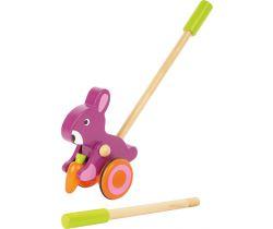 Dřevěný jezdík Small Foot Růžový králík s mrkví