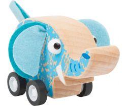 Dřevěný slon na kolečkách Small Foot Modrý