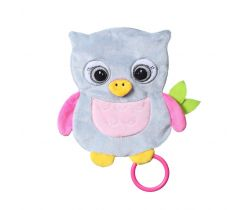 Šustící mazlíček BabyOno Flat Owl Celeste