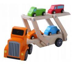 Tahač s návěsem pro přepravu aut + 4 autíčka EcoToys
