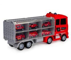 Tahací vůz s autíčky EcoToys Fireman