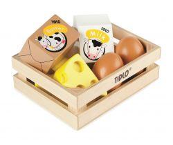 Dřevěná bedýnka s mléčnými výrobky a vejci Tidlo