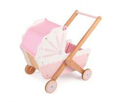 Dřevěný kočárek pro panenky Tidlo Růžový