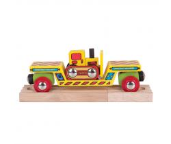 Vagon s buldozerem + 2 koleje Bigjigs Rail
