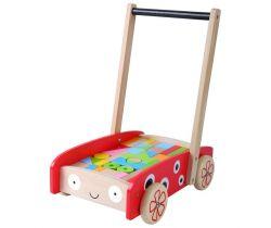 Velký dřevěný vozík s kostičkami 42ks EcoToys Beruška
