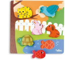 Dřevěné puzzle Vilac Zvířátka u rybníku