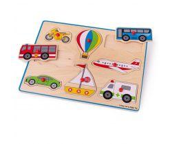 Vkládací puzzle Bigjigs Toys Dopravní prostředky 8 dílků