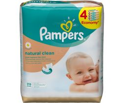 Vlhčené ubrousky 4x64 ks Pampers Natural Clean