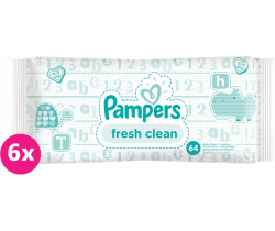Vlhčené ubrousky 6x64 ks Pampers Fresh Clean