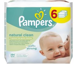 Vlhčené ubrousky 6x64 ks Pampers Natural Clean