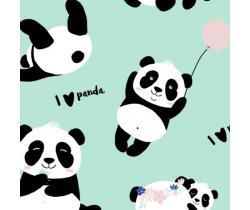 Zavinovačka La Millou Baby Horn I Love Panda Mint
