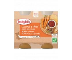 Zelenina s těstovinami na boloňský způsob s hovězím masem 2x200 g Babybio
